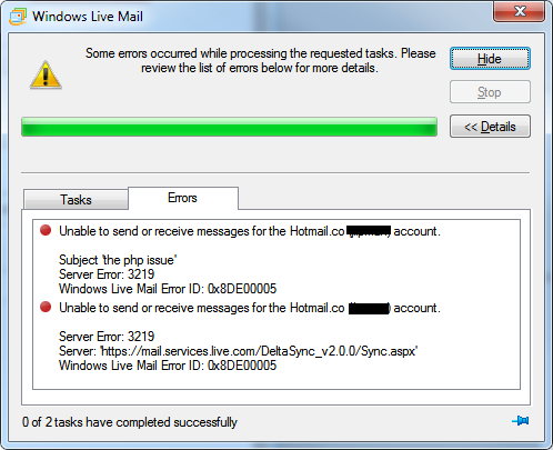 Windows Live Mail - Unable to send or Receive for Hotmail