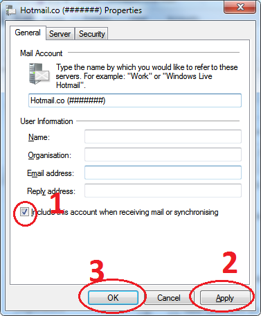 Windows Live Mail - Account Properties Deactivate