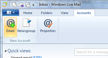 Windows Live Mail - Add Email Account