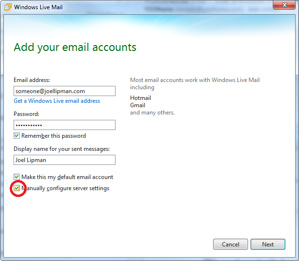 Windows Live Mail - Manually configure server settings
