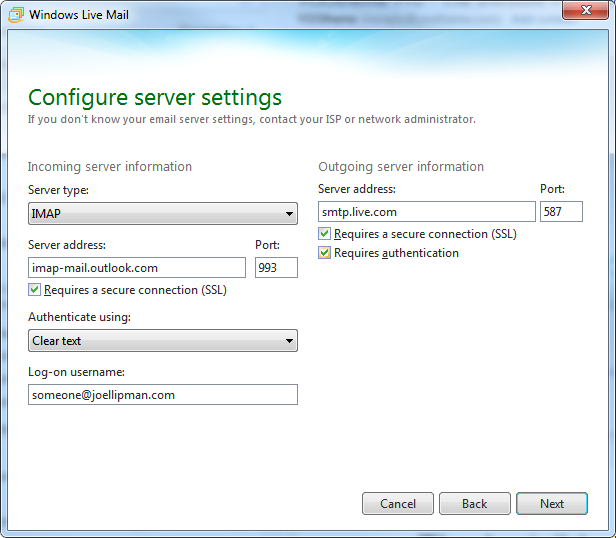 Windows Live Mail - Configure server settings